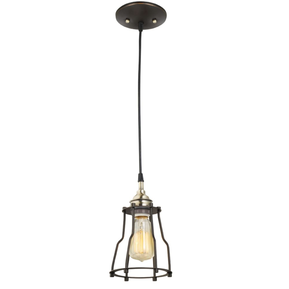 64751 1-Light Vintage Hanging Caged Pendant Light Fixture, Antique Brass Finish