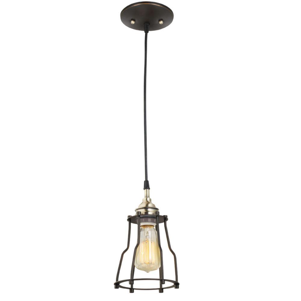 1-Light Vintage Hanging Caged Pendant Light Fixture in Antique Brass