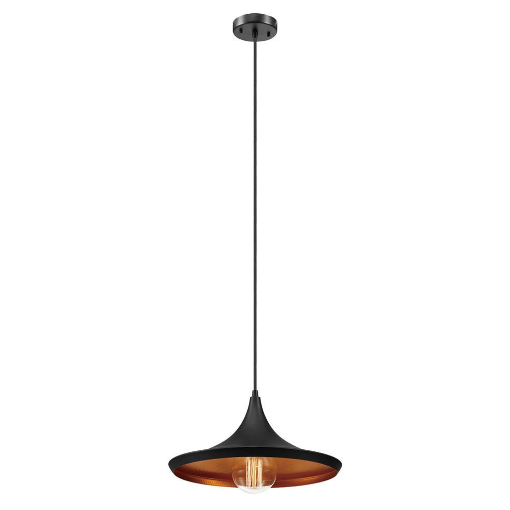 Globe Electric 1-Light Flat Modern Industrial Pendant Light Fixture in Oil Rubbed Bronze & Gold