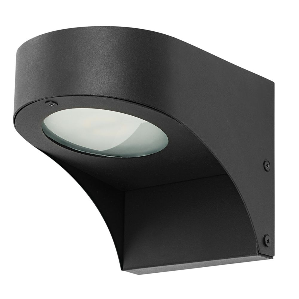 43576 5 Inch Sleek LED Integrated Outdoor Wall Mount, Black Finish With Clear Glass Shade