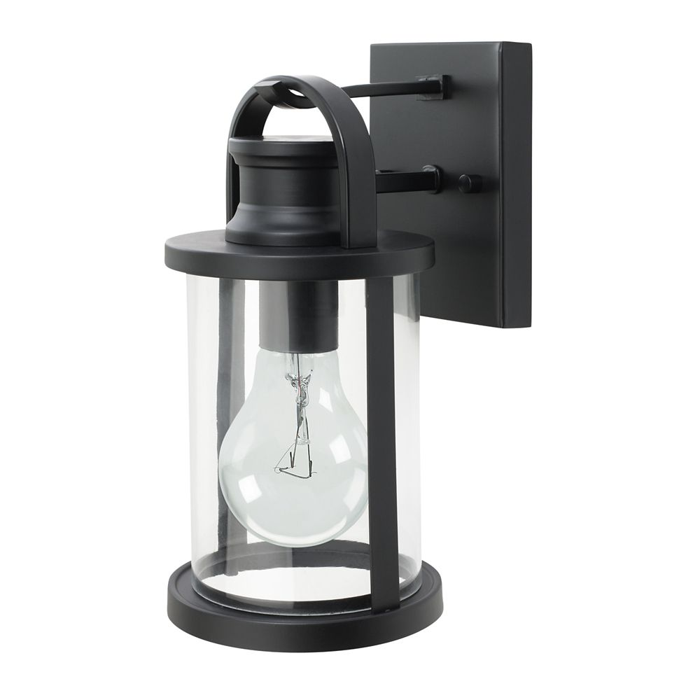 43532 12 Inch Sleek Outdoor Wall Lantern, Black Finish With Clear Glass Shade