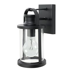Globe Electric 12-inch Sleek Outdoor Wall Lantern with Clear Glass Shade in Black