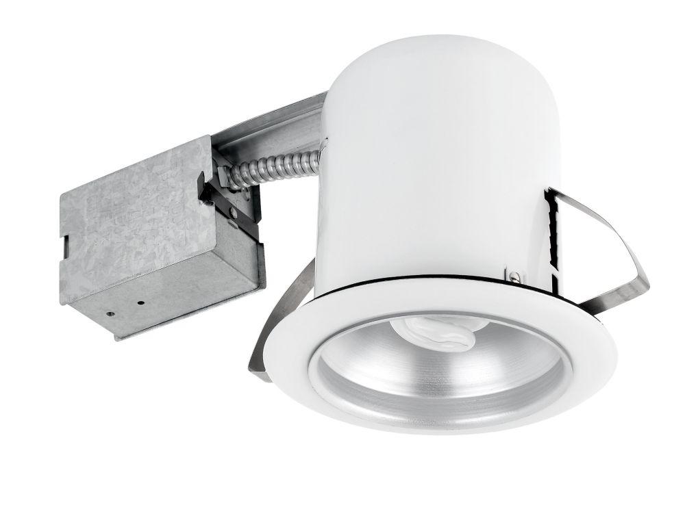 90056 Ensemble d'eclairage encastre LCF 5 pouces, finition en blanc et reflecteur en chrome