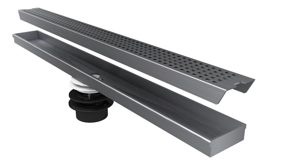 Geotop Linear Shower Drain 54 Inch. Length in a Brushed Satin Stainless Steel Finish