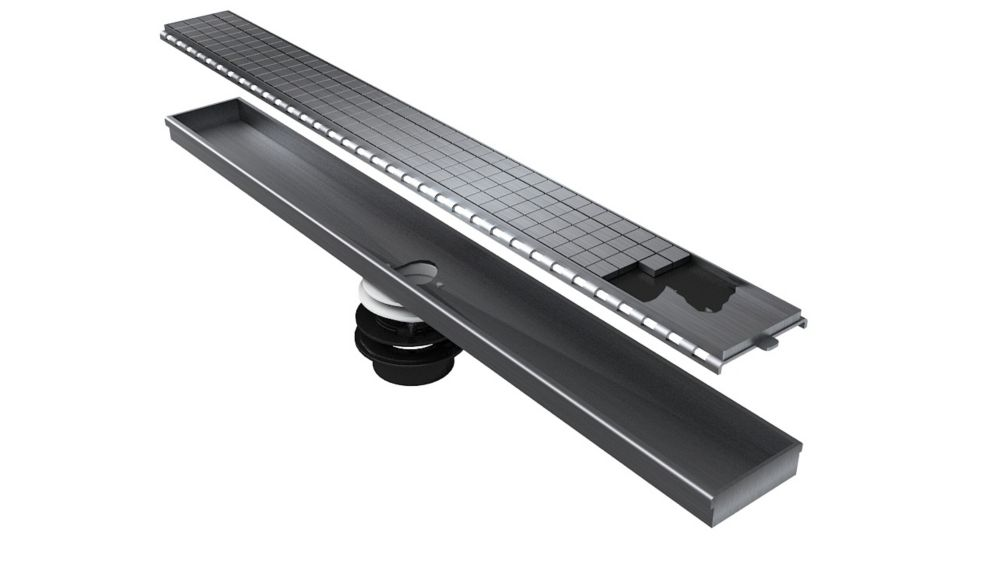 Tile-insert Linear Drain 40 Inch. Length Create an Invisible Look by Using your Own Tile