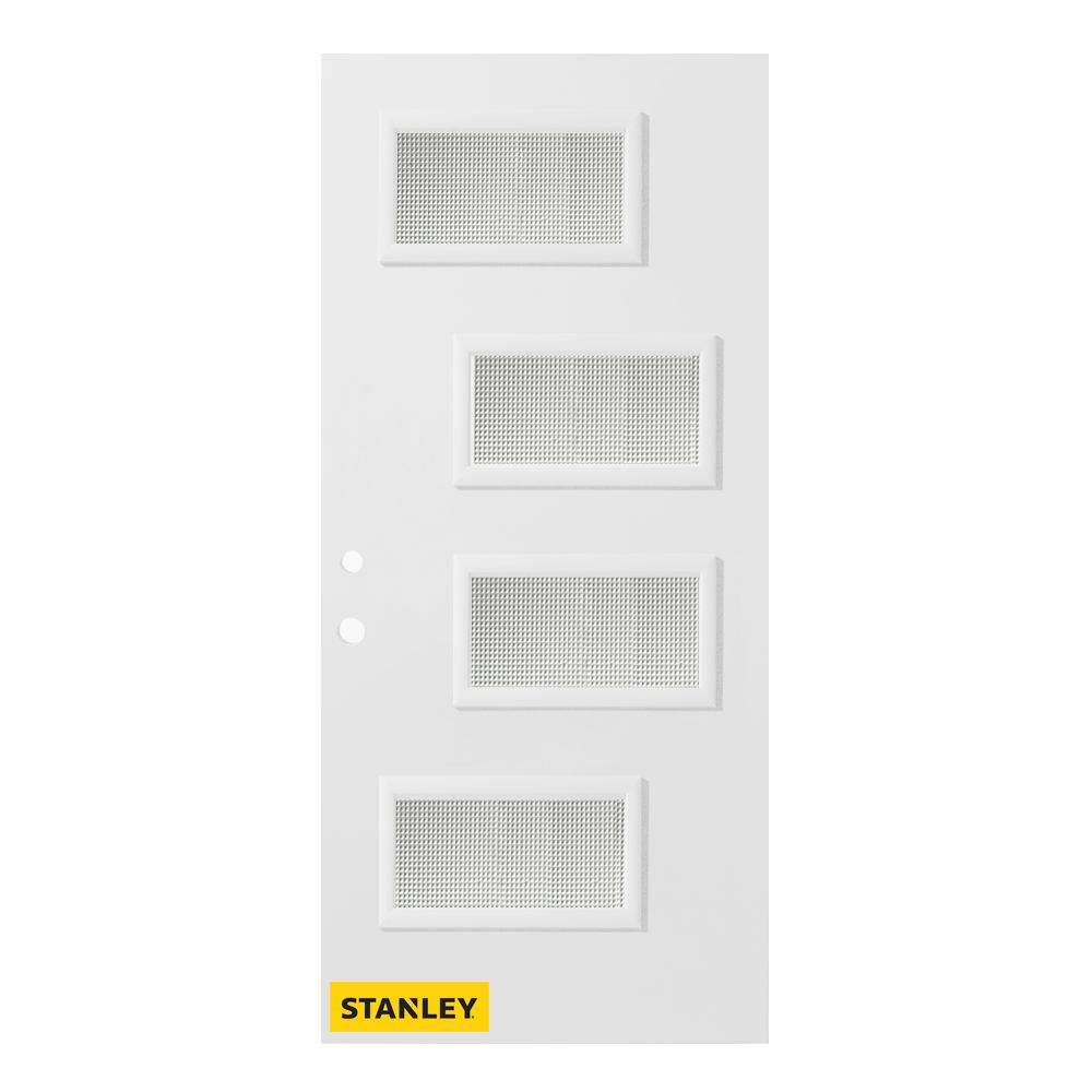 34-inch x 80-inch Beatrice Jingoish 4-Lite Pre-Finished White Right-Hand Inswing Steel Entry Door
