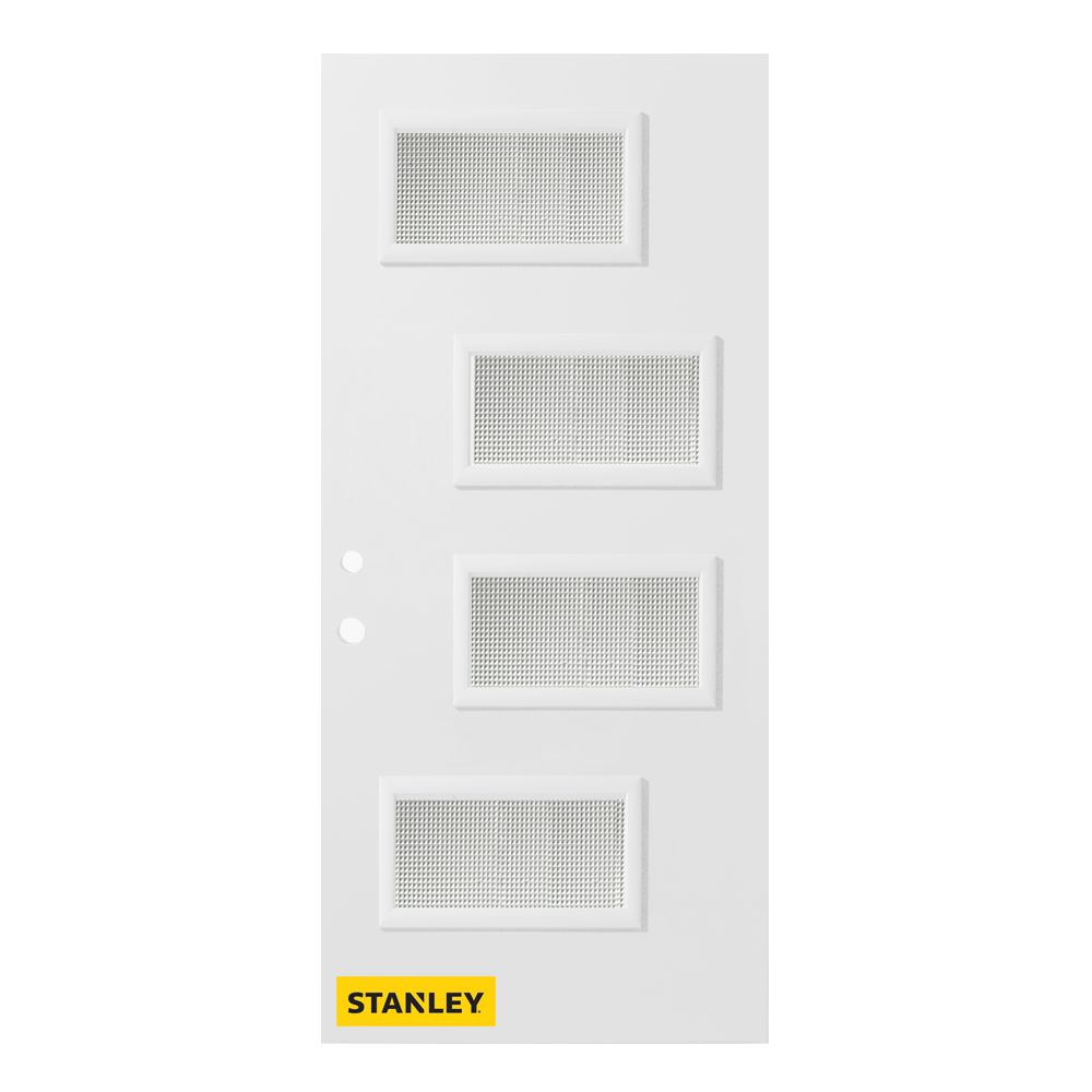 36-inch x 80-inch Beatrice Jingoish 4-Lite Pre-Finished White Right-Hand Inswing Steel Entry Door