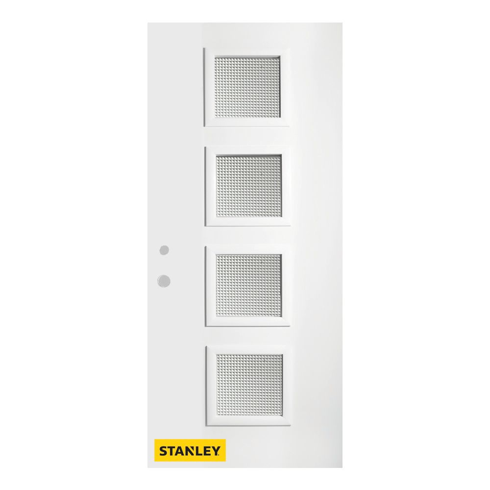 Stanley Doors 37.375 inch x 82.375 inch Evelyn 4-Lite Prefinished White Right-Hand Inswing Steel Prehung Front Door - ENERGY STAR®