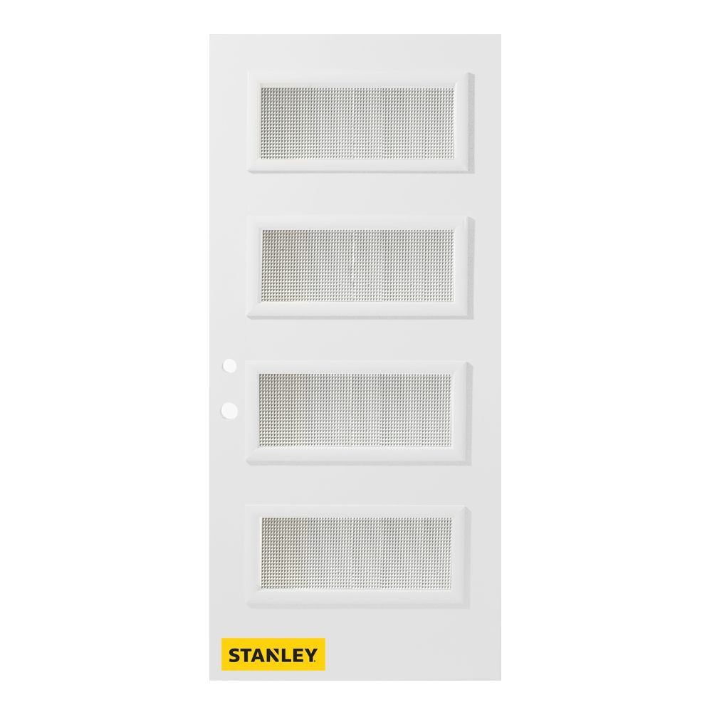 37.375 inch x 82.375 inch Lorraine 4-Lite Satin Bevel Prefinished White Right-Hand Inswing Steel Prehung Front Door - ENERGY STAR®