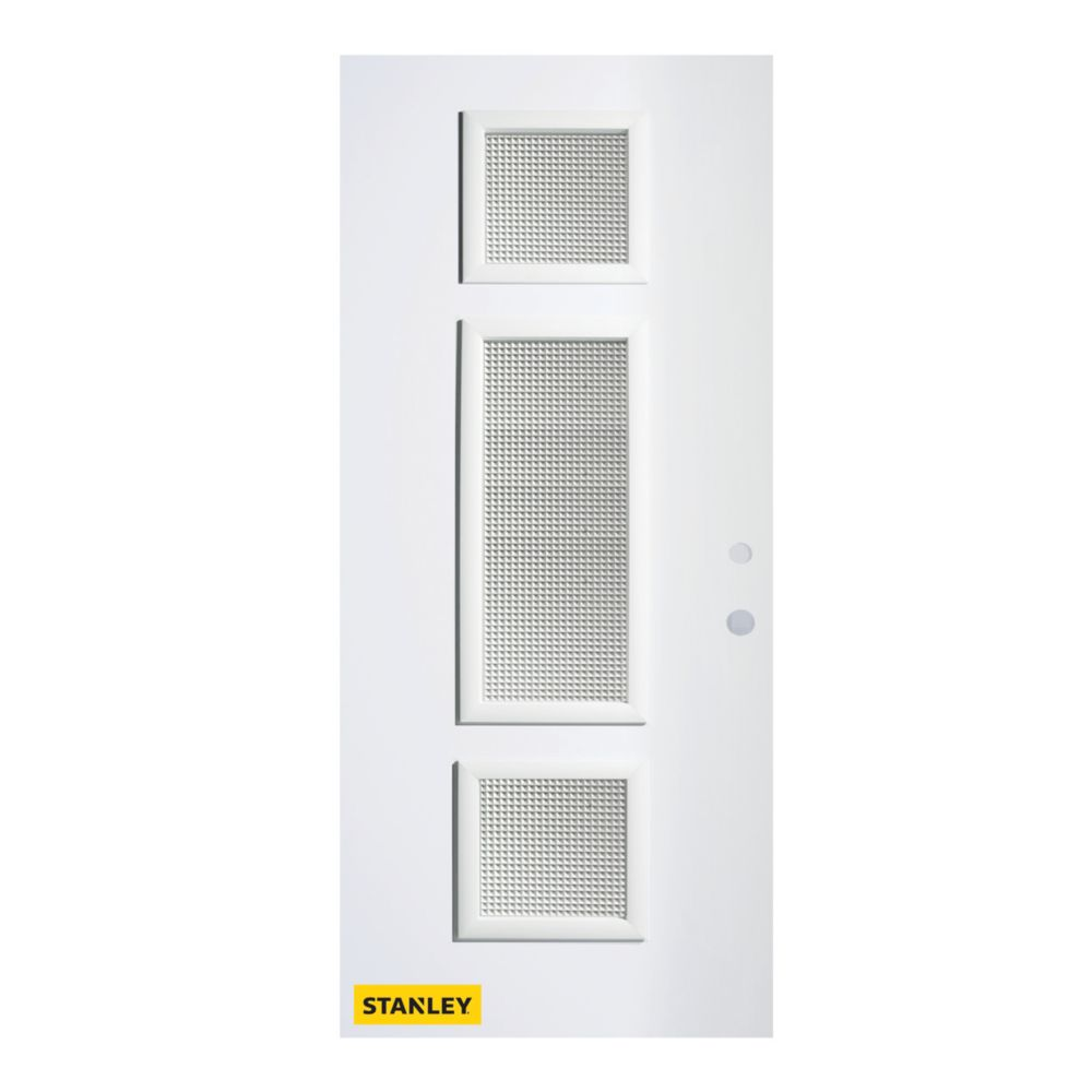 32-inch x 80-inch Marjorie Jingoish 3-Lite Pre-Finished White Left-Hand Inswing Steel Entry Door