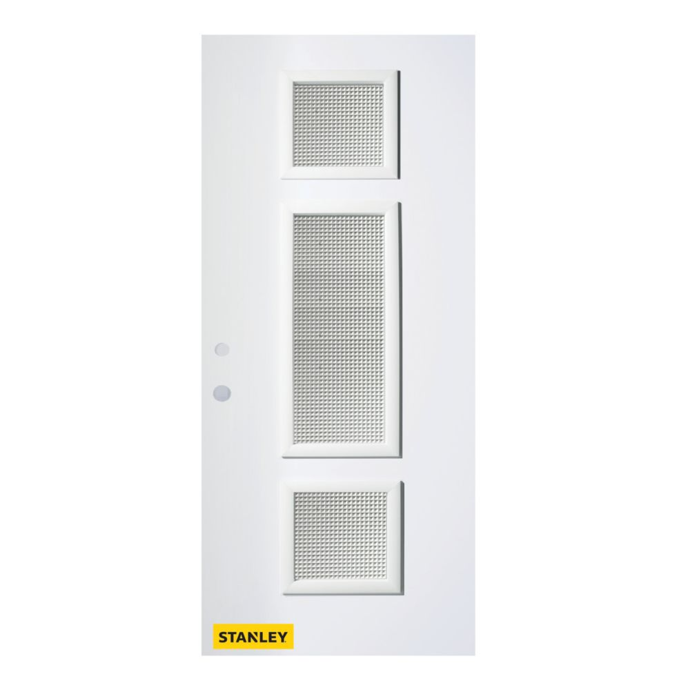 33.375 inch x 82.375 inch Marjorie 3-Lite Satin Opaque Prefinished White Right-Hand Inswing Steel Prehung Front Door