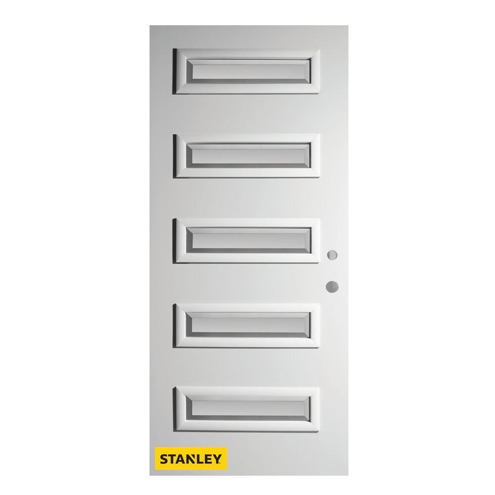 Porte d'entré en acier préfini en blanc, munie de 5 panneaux de verres, 34 po x 80 po, ouverture ...