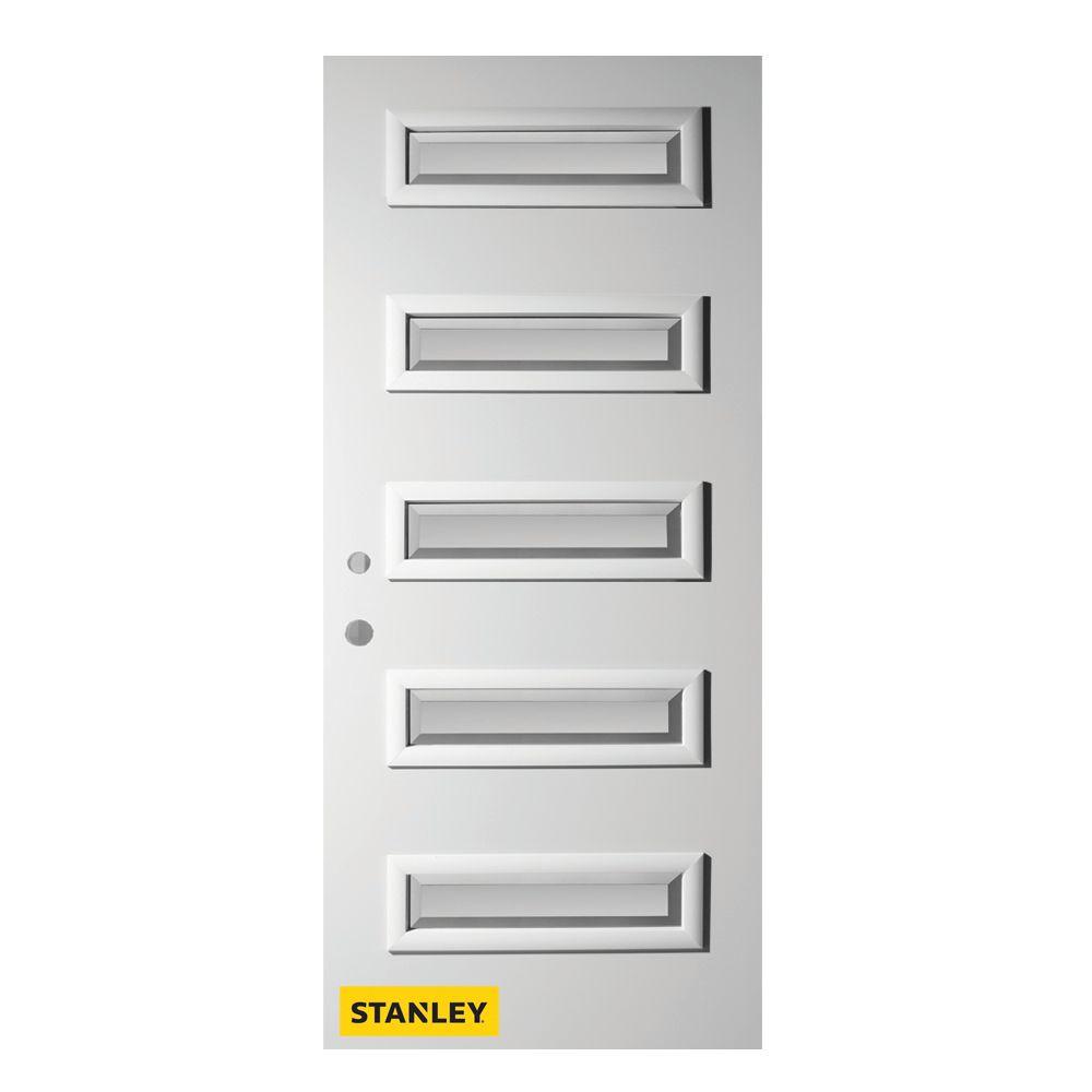Stanley doors porte d 39 entr en acier pr fini en blanc for Porte 5 panneaux