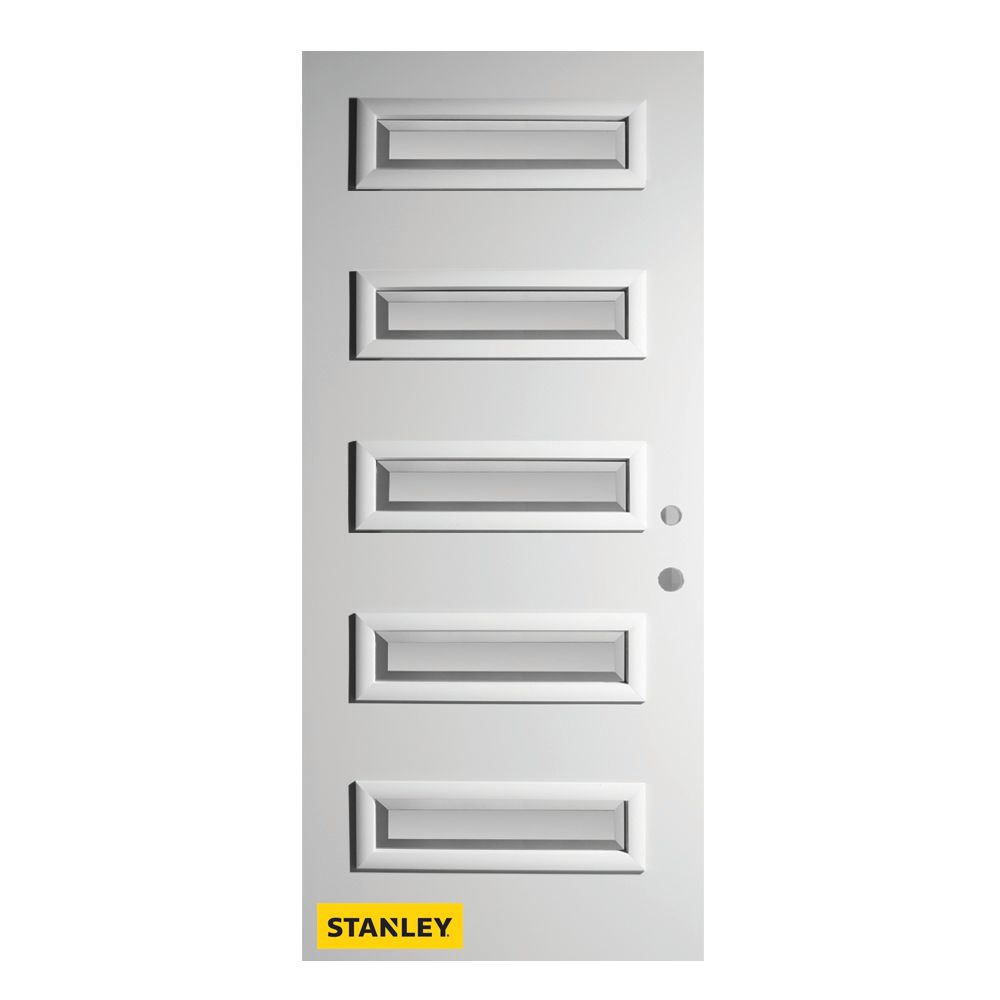 36-inch x 80-inch Ruth Satin Bevel 5-Lite Pre-Finished White Left-Hand Inswing Steel Entry Door