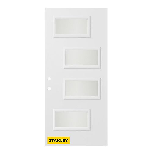 STANLEY Doors 33.375 inch x 82.375 inch Beatrice 4-Lite Satin Opaque Prefinished White Right-Hand Inswing Steel Prehung Front Door - ENERGY STAR®