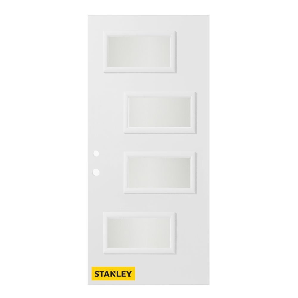 35.375 inch x 82.375 inch Beatrice 4-Lite Satin Opaque Prefinished White Right-Hand Inswing Steel Prehung Front Door - ENERGY STAR®
