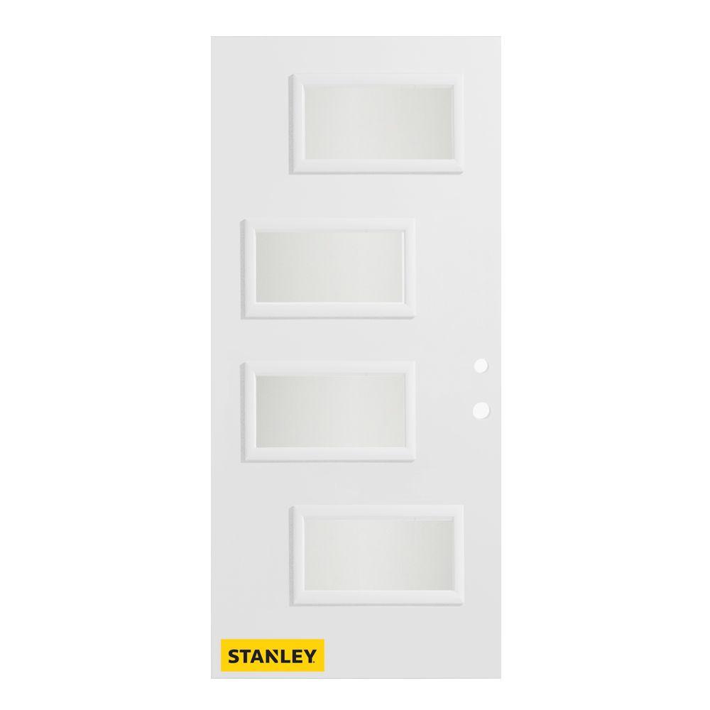 Stanley Doors 37.375 inch x 82.375 inch Beatrice 4-Lite Delta Satin Prefinished White Left-Hand Inswing Steel Prehung Front Door - ENERGY STAR®