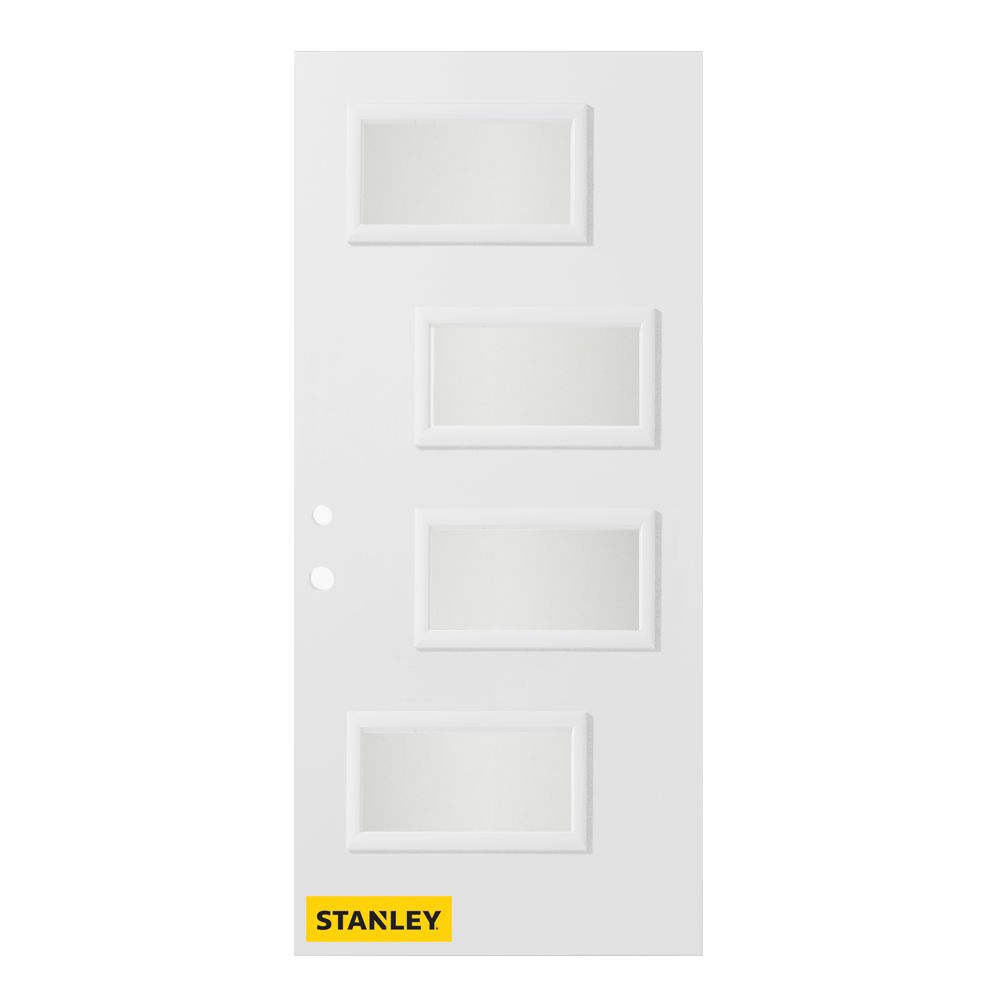 36-inch x 80-inch Beatrice Satin Opaque 4-Lite White Right-Hand Inswing Steel Entry Door