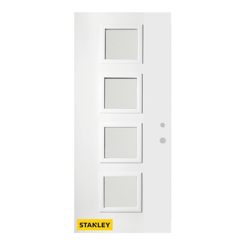 35.375 inch x 82.375 inch Evelyn 4-Lite Carr Prefinished White Left-Hand Inswing Steel Prehung Front Door