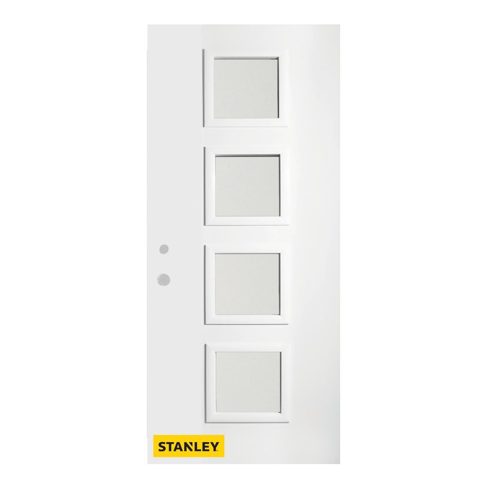 37.375 inch x 82.375 inch Evelyn 4-Lite Carr Prefinished White Right-Hand Inswing Steel Prehung Front Door - ENERGY STAR®