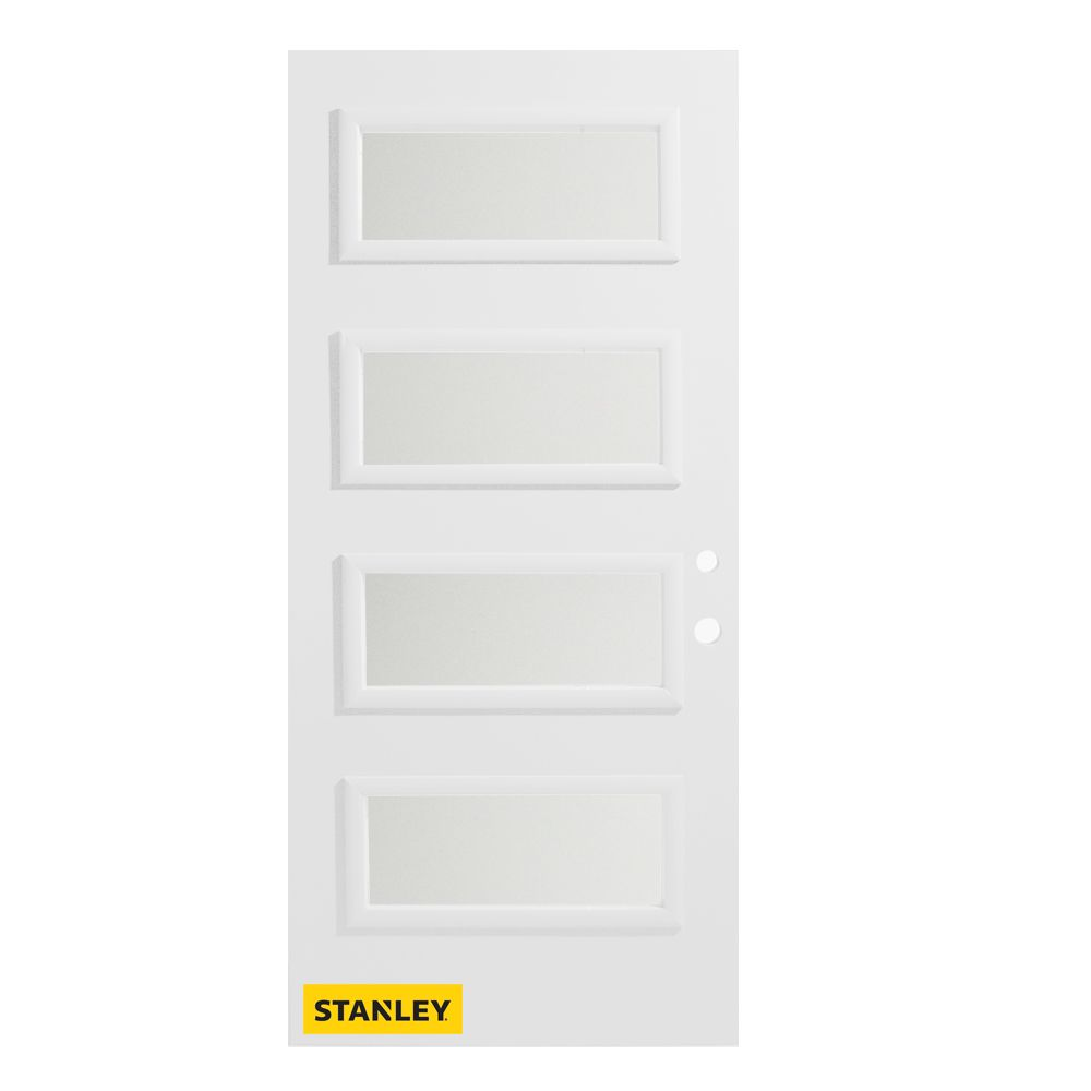 34-inch x 80-inch Lorraine Satin Opaque 4-Lite Pre-Finished White Left-Hand Inswing Steel Entry D...