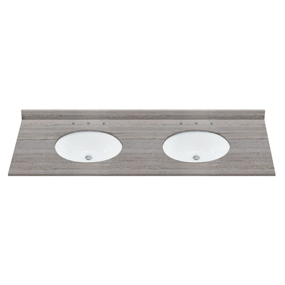 Revêtement de comptoir pour meuble-lavabo en granite naturel de couleur sables côtiers de 154,94 ...