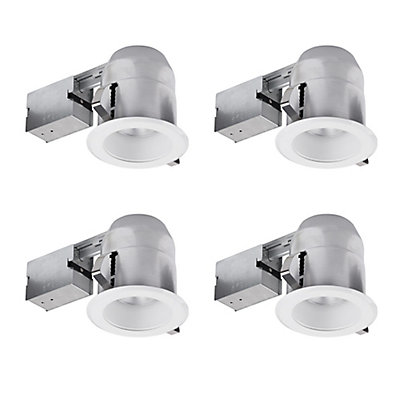 Globe electric 5 inch white ic rated round recessed lighting kit 4 5 inch white ic rated round recessed lighting kit 4 pack mozeypictures Images
