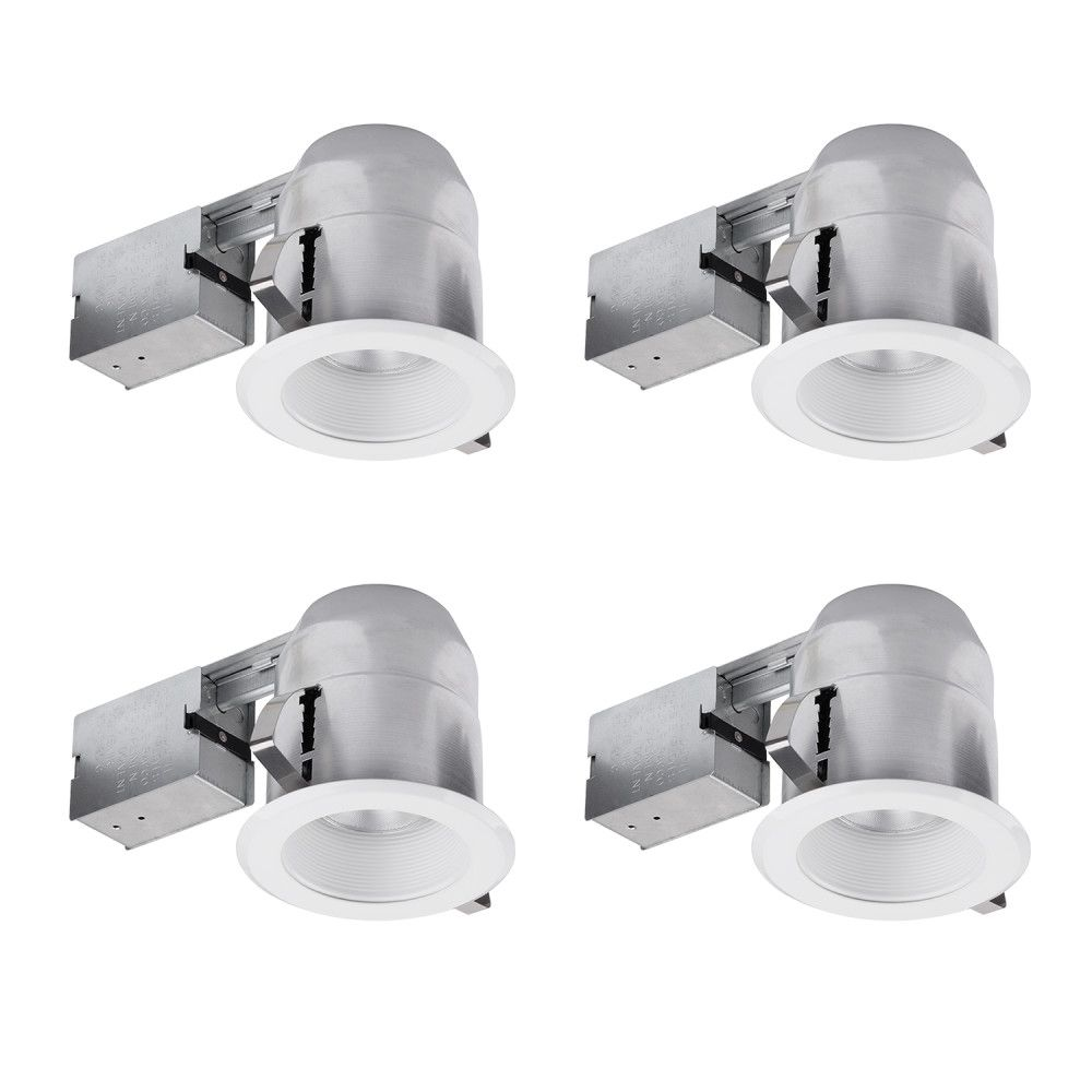 91404 5 Inch IC Rated Recessed Lighting Kit, Open Kit with White Finish, 4 Pack