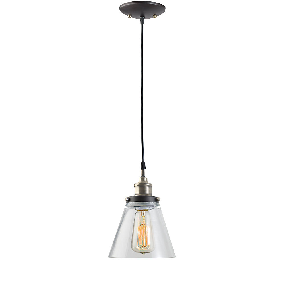 1-Light Vintage Hanging Pendant Light Fixture with Glass Shade in Antique Brass and Dark Brown