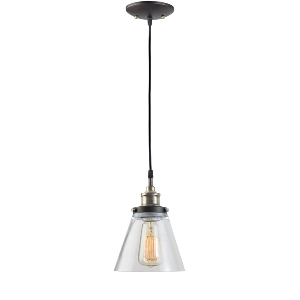 64750 1 Light Vintage Hanging Pendant Light Fixture, Antique Brass and Dark Brown Finish with Gla...