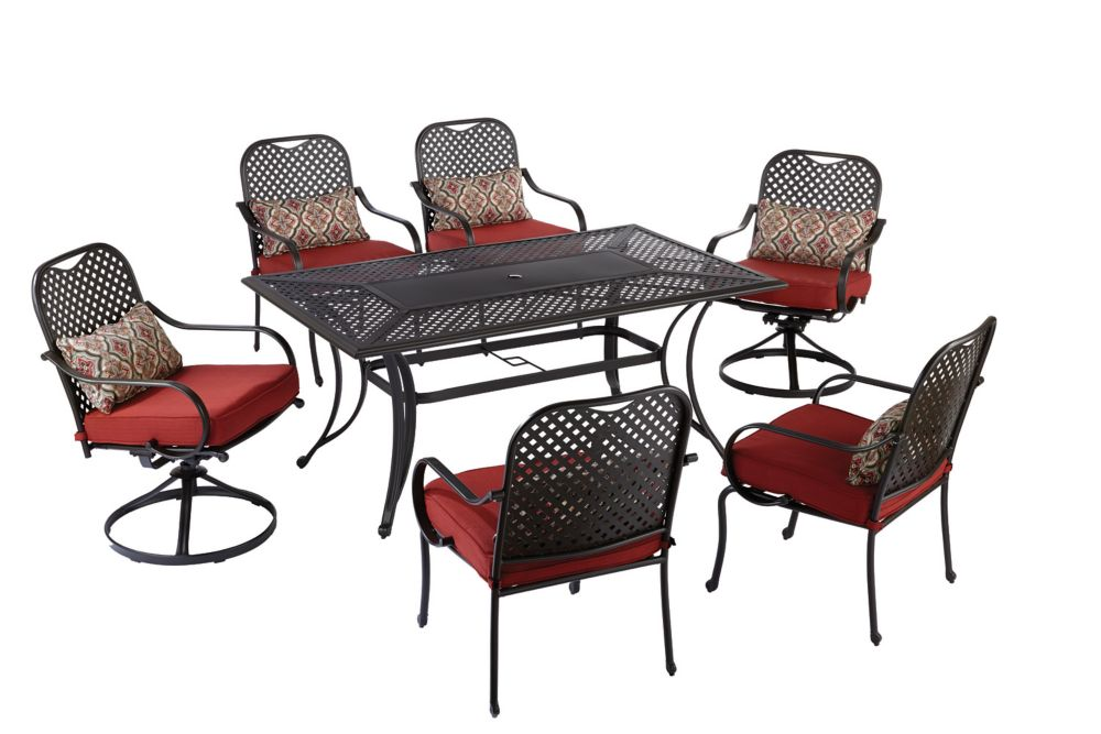 Hampton Bay Fall River 7-Piece Outdoor Dining Set in Red