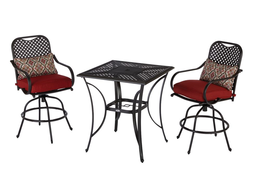 Fall River Outdoor High Dining Set in Red