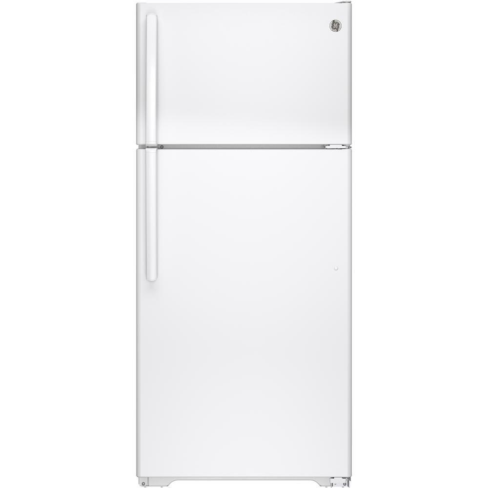 GE 28-inch W 15.5 cu. ft. Top Freezer Refrigerator in White - ENERGY STAR®