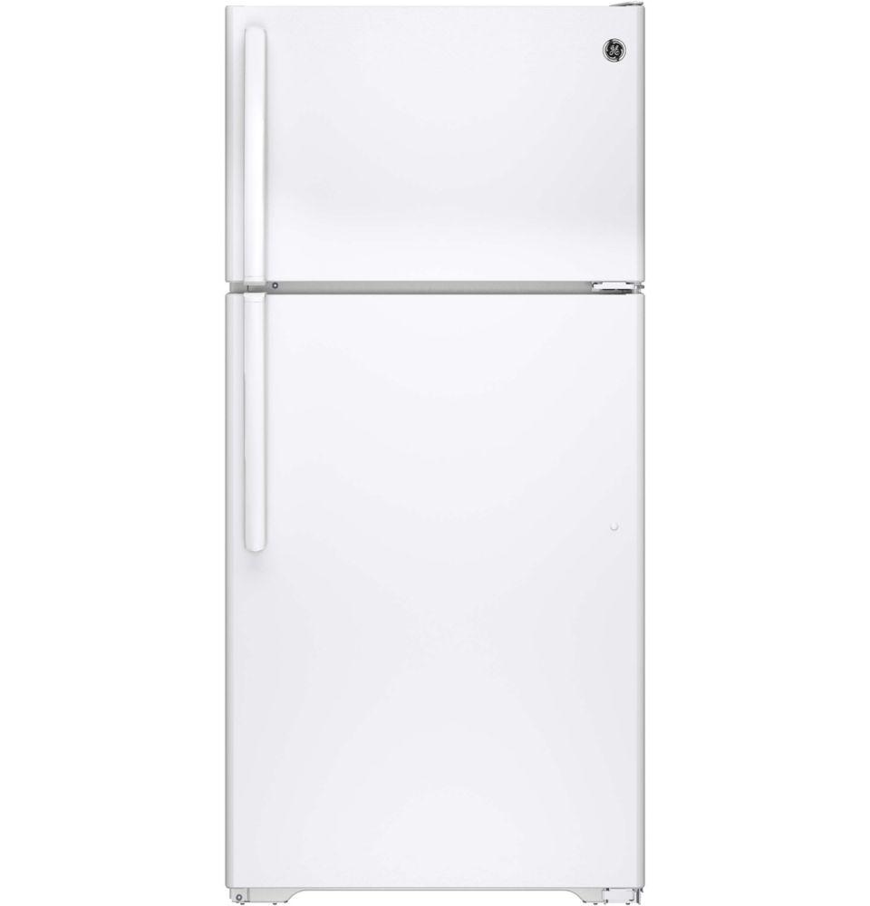 ge r frig rateur avec cong lateur en haut d givrage automatique blanc capacit de 14 6. Black Bedroom Furniture Sets. Home Design Ideas