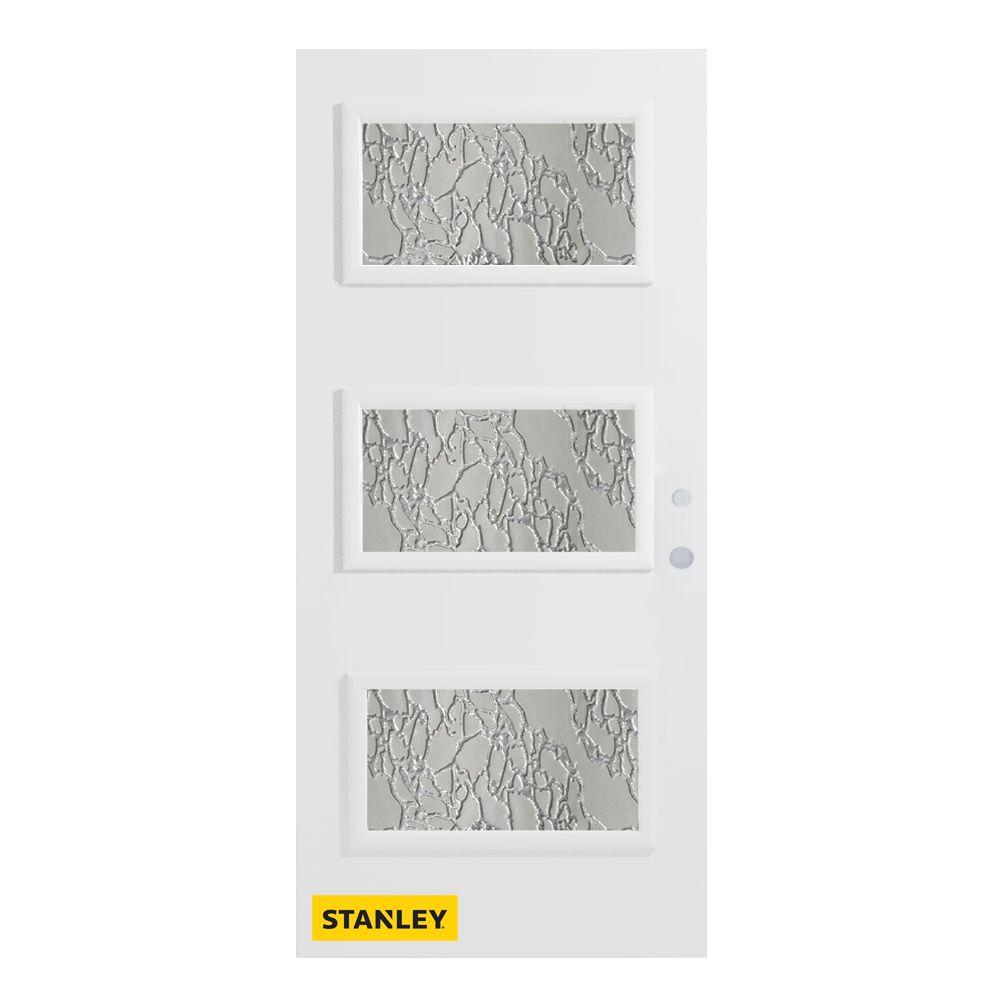 Stanley Doors 37.375 inch x 82.375 inch Dorothy 3-Lite Diamond Prefinished White Left-Hand Inswing Steel Prehung Front Door - ENERGY STAR®