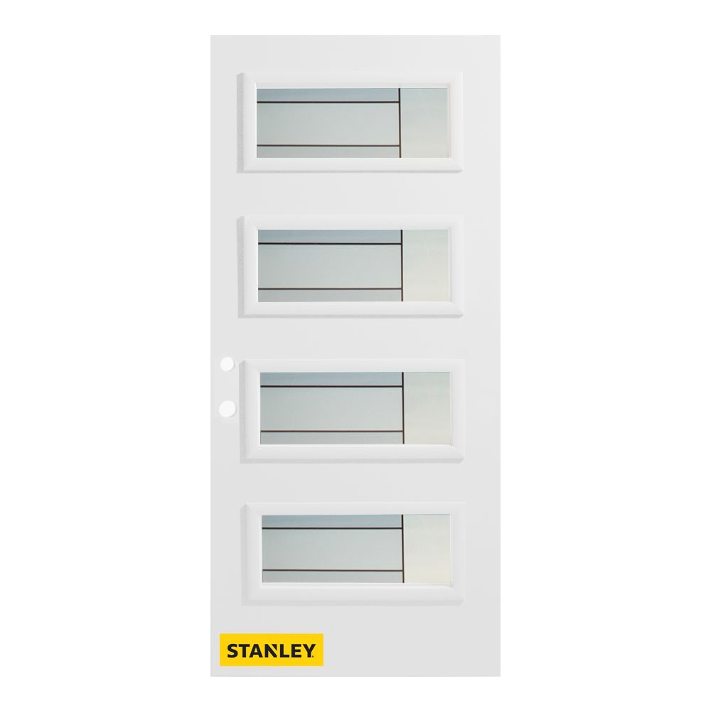 36-inch x 80-inch Louise 4-Lite Pre-Finished White Right-Hand Inswing Steel Entry Door