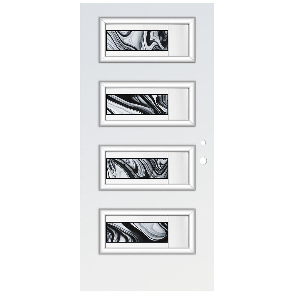 Porte d'entré en acier préfini en blanc, munie de 4 panneaux de verres, 34 po x 80 po, ouverture ...