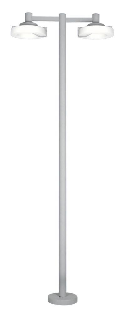 ROI Poteau 2L, Fini Argent avec Abat-Jour en Plastique Opaque