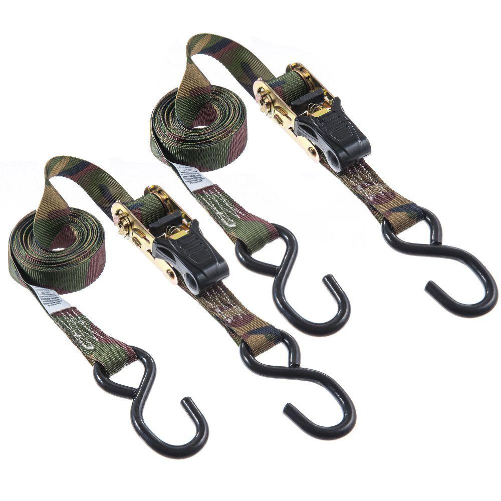 KEEPER Tie-down, 12 Feet. Ratch,Camo,1500lb 2Pk