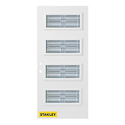 Stanley Doors Porte d'entrée en acier préfini en blanc, munie de 4 panneaux de verres, 34 po x 80 po, ouverture vers l'intérieur à droite
