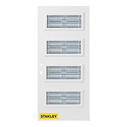Stanley Doors Porte d'entrée en acier préfini en blanc, munie de 4 panneaux de verres, 36 po x 80 po, ouverture vers l'intérieur à droite - ENERGY STAR®