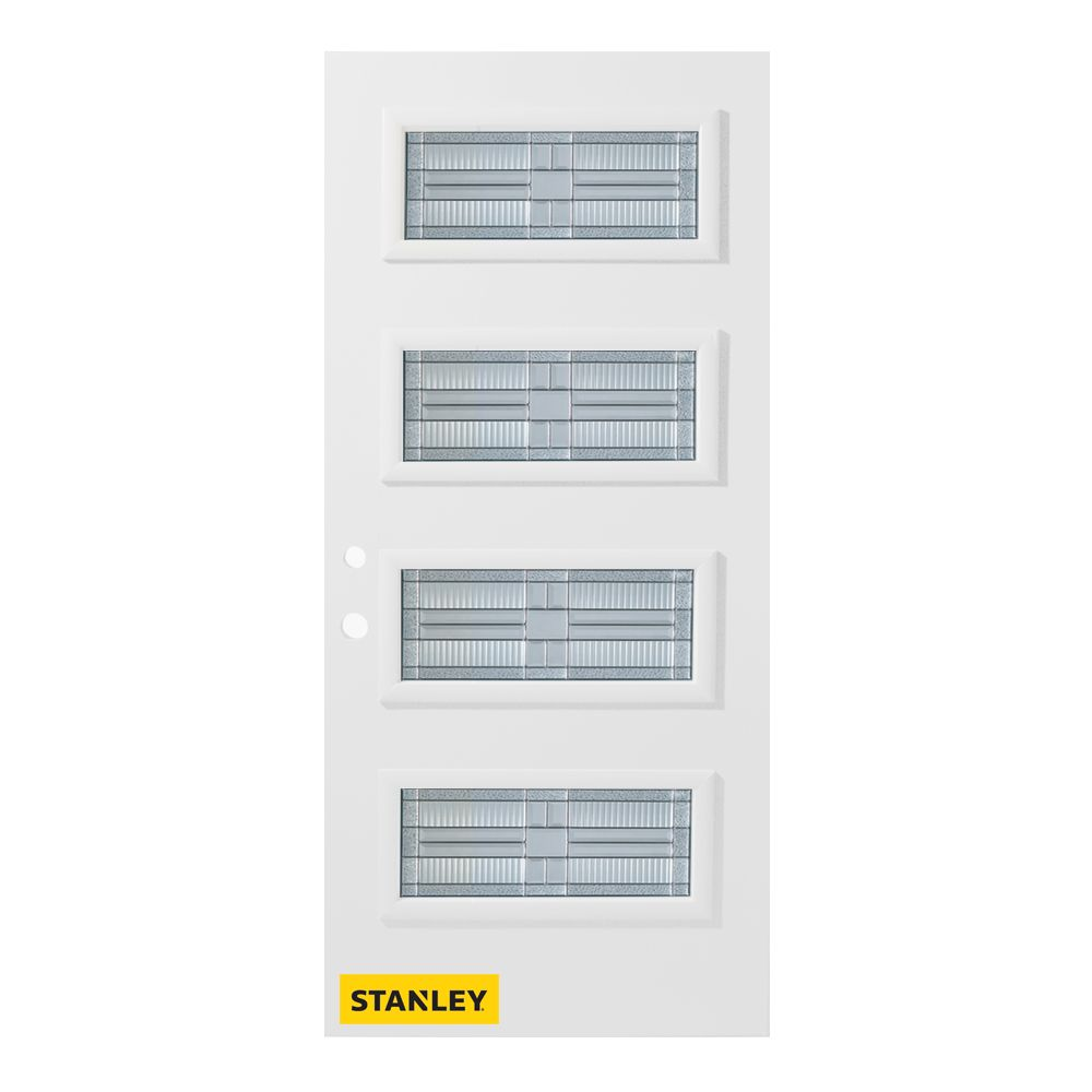 37.375 inch x 82.375 inch Seattle Zinc 4-Lite Flutelite Prefinished White Right-Hand Inswing Steel Prehung Front Door - ENERGY STAR®