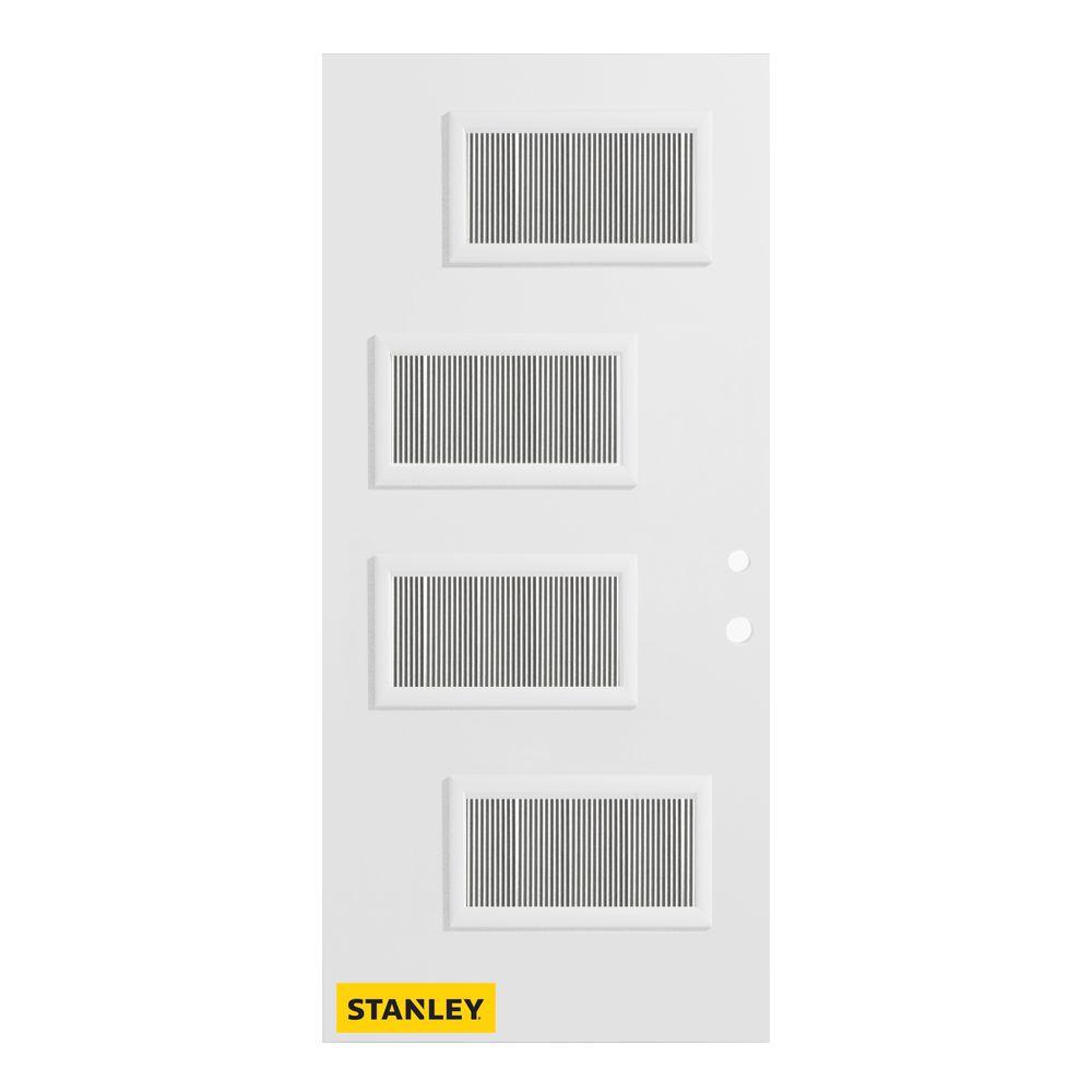 Stanley Doors 33.375 inch x 82.375 inch Beatrice 4-Lite Flutelite Prefinished White Left-Hand Inswing Steel Prehung Front Door - ENERGY STAR®