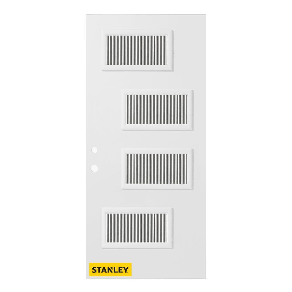 Porte d'entrée en acier préfini en blanc, munie de 4 panneaux de verres, 36 po x 80 po, ouverture...