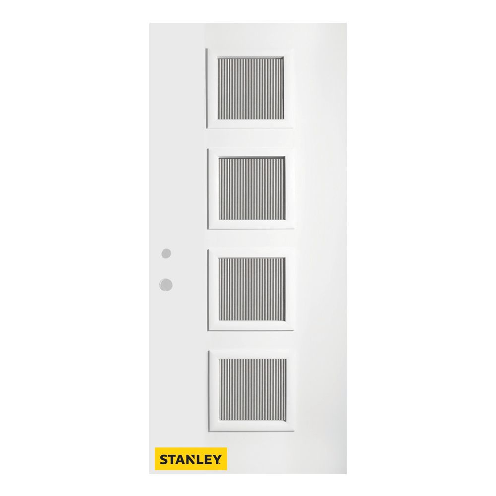 32-inch x 80-inch Evelyn Flutelite 4-Lite Pre-Finished White Right-Hand Inswing Steel Entry Door