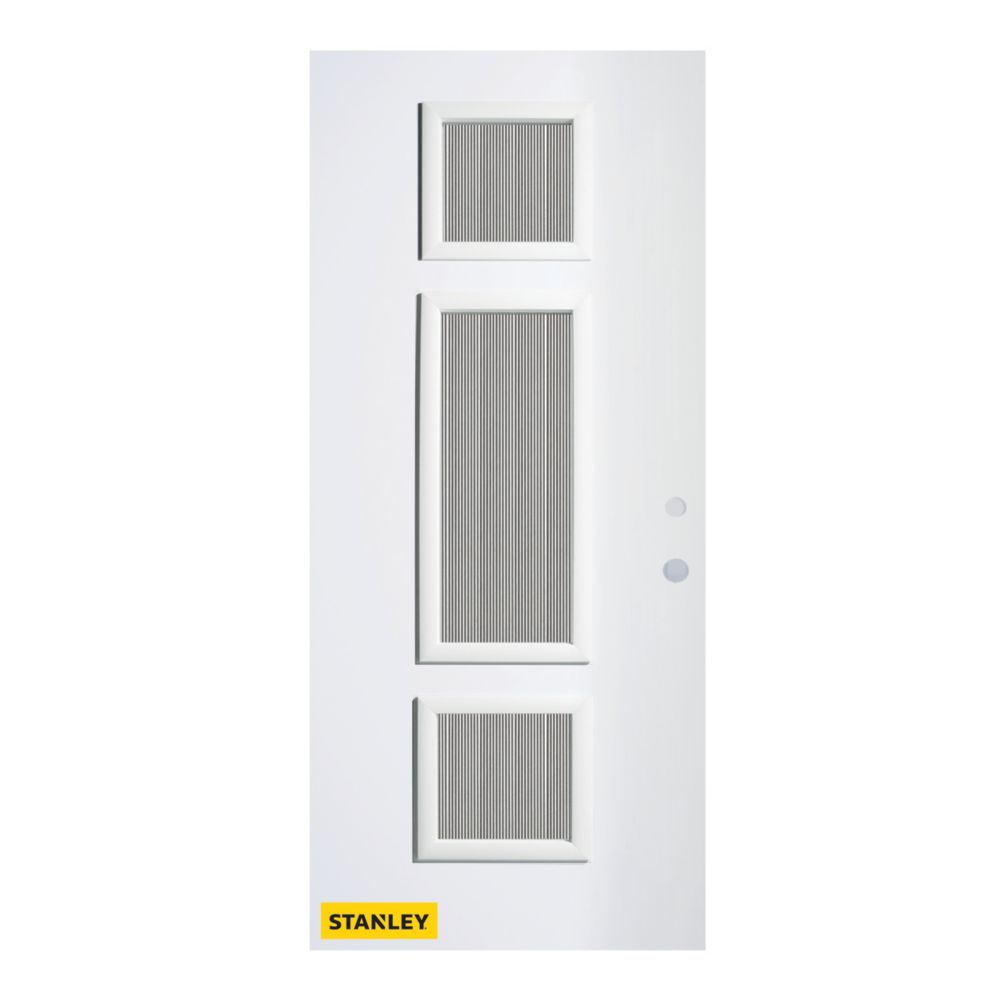 32-inch x 80-inch Marjorie Flutelite 3-Lite Pre-Finished White Left-Hand Inswing Steel Entry Door
