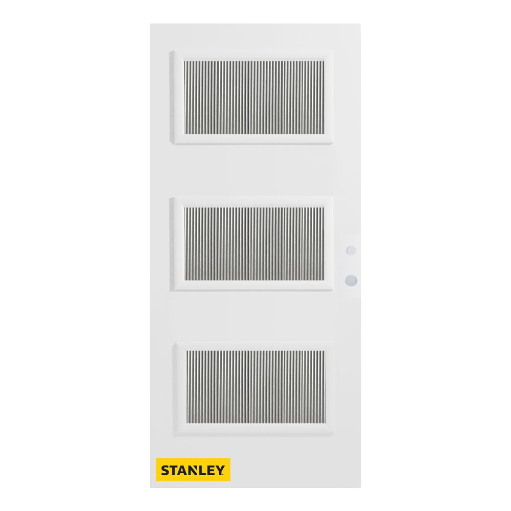 33.375 inch x 82.375 inch Dorothy 3-Lite Flutelite Prefinished White Left-Hand Inswing Steel Prehung Front Door