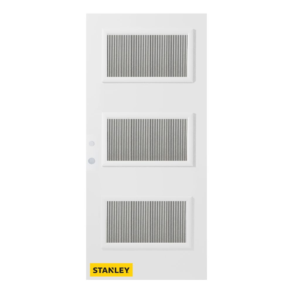 33.375 inch x 82.375 inch Dorothy 3-Lite Flutelite Prefinished White Right-Hand Inswing Steel Prehung Front Door - ENERGY STAR®