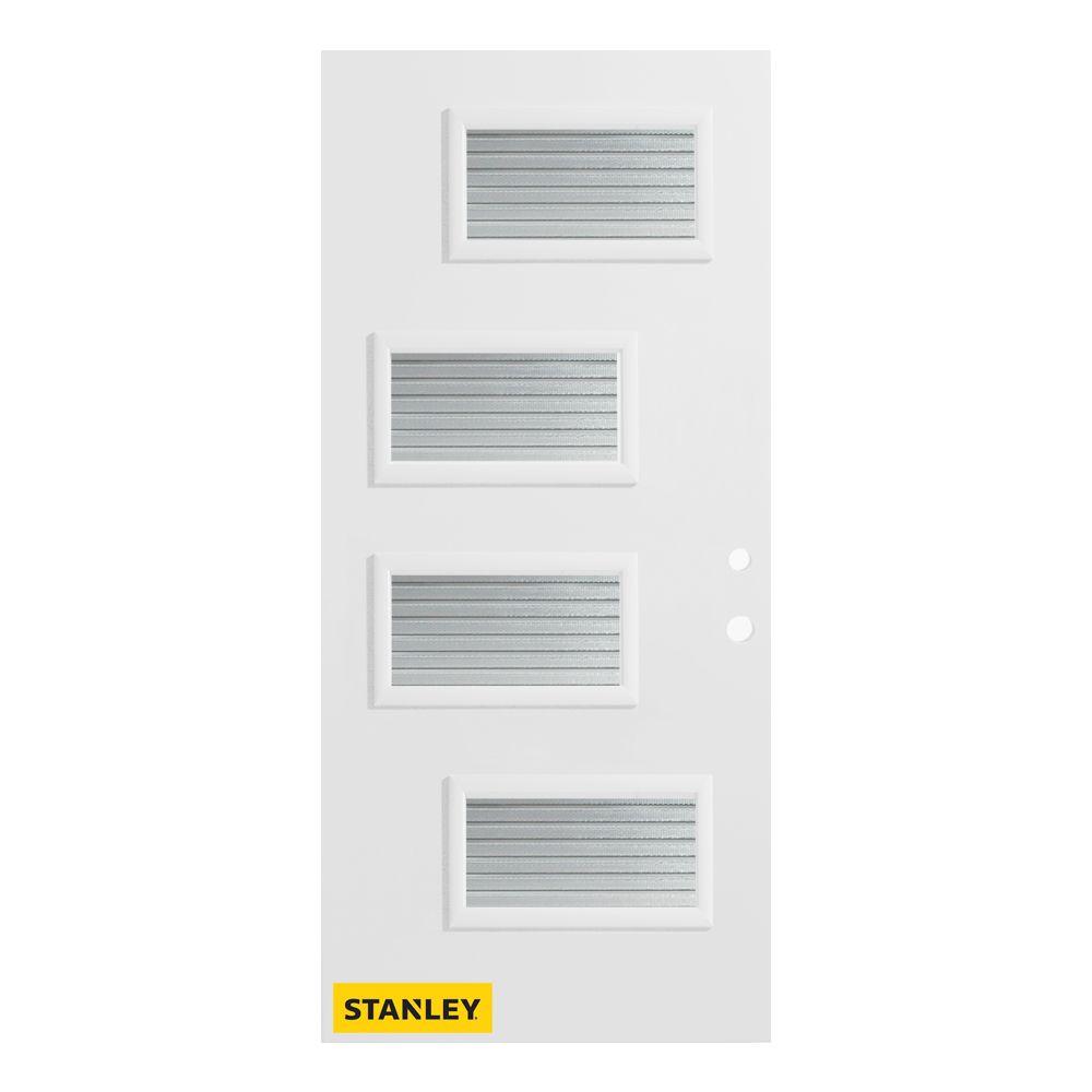Stanley Doors 33.375 inch x 82.375 inch Beatrice 4-Lite Masterline Prefinished White Left-Hand Inswing Steel Prehung Front Door - ENERGY STAR®