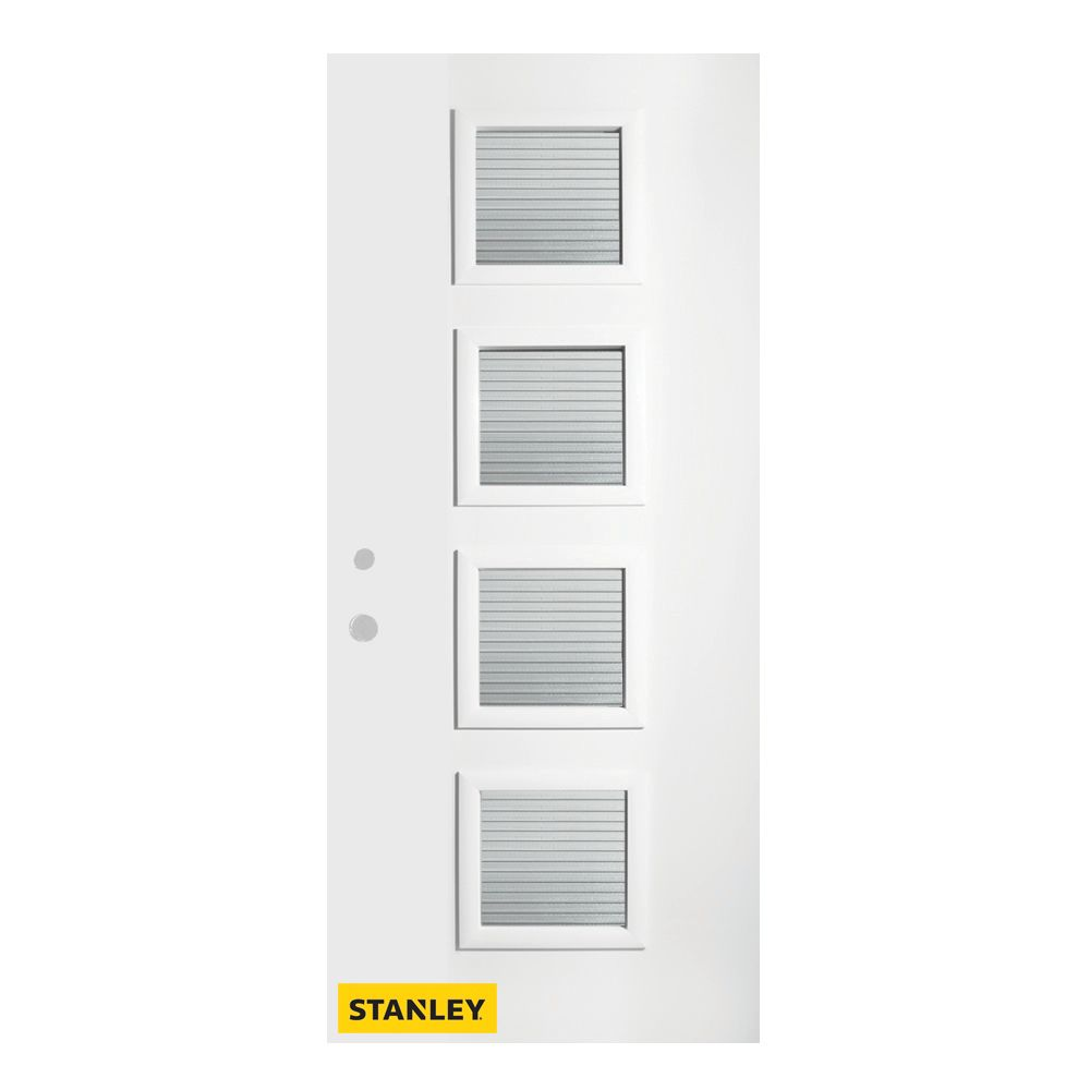 32-inch x 80-inch Evelyn Masterline 4-Lite Pre-Finished White Right-Hand Inswing Steel Entry Door
